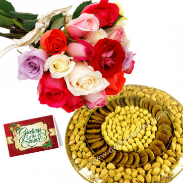 Fresh Gift - Bunch of 10 Mix Roses, Assorted Dryfruits in Basket 500 gms & Card