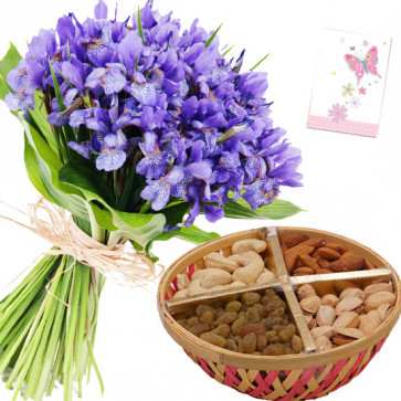 Blissful Combo - 10 Orchid Flowers, Assorted Dryfruits in Basket 500 gms & Card