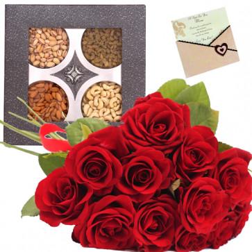 Gift for All - Bunch of 12 Red Roses, Assorted Dryfruits in Box 400 gms & Card