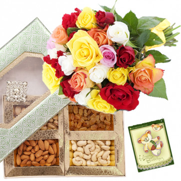 Mix Roses N Dryfruits - Bunch of 20 Mix Roses, Assorted Dryfruits in Box 200 gms & Card