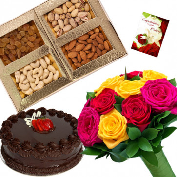 Treat to Have - Bunch of 12 Mix Roses, Assorted Dryfruits in Box 200 gms, Chocolate Cake 1/2 kg & Card
