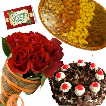 Cake N Crunch - Bunch of 15 Red Roses, Assorted Dryfruits in Basket 200 gms, Black Forest Cake 1/2 kg & Card