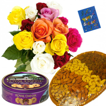 Box of Joy - Bunch of 18 Mix Roses, Assorted Dryfruits in Basket 200 gms, Danish Butter Cookies & Card