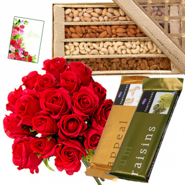 Gifts with Love - Bunch of 15 Red Roses, Assorted Dryfruits in Box 200 gms, 2 Temptations & Card