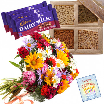 Nutty N Crunchy - Bunch of 12 Mix Flowers, Assorted Dryfruits in Box 200 gms, 3 Fruit n Nut & Card