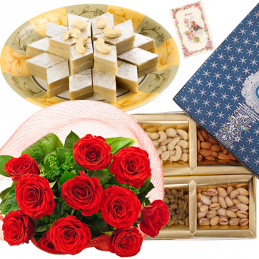 Sweet for Delight - Bunch of 12 Red Roses, Assorted Dryfruits in Box 200 gms, Kaju Katli 250 gms & Card