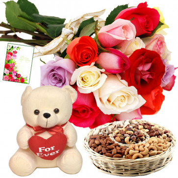 All of Love - Bunch of 15 Mix Roses, Assorted Dryfruits in Basket 400 gms, Teddy with Heart 8 inch & Card