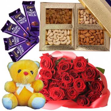 Perfect Hamper for You - Bunch of 20 Red Roses, Assorted Dryfruits in Box 200 gms, Teddy 6 inch, 5 Dairy Milk & Card