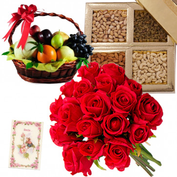 Fruit N Dryfruits - Bunch of 12 Red Roses, Assorted Dryfruits in Box 200 gms, Mix Fruit Basket 2 Kg & Card