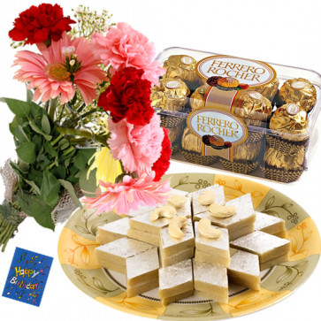 Sweet Carnation - 15 Mix Carnations Bunch, Kaju Katli 250 gms, Ferrero Rocher 16 Pcs & Card