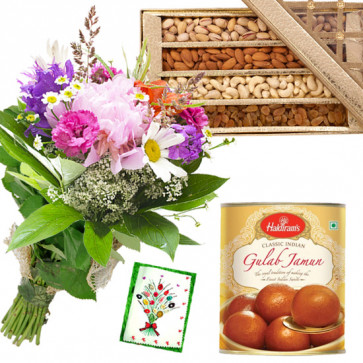 Seasonal Assortment - 15 Mix Seasonal Flowers Bunch, Gulab Jamun 500 gms, Assorted Dry Fruits Box 200 gms & Card