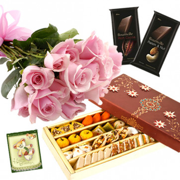 Pink Mix Choco - 12 Pink Roses Bunch, Kaju Mix 500 Gms, 2 Bournville 30 gms each & Card
