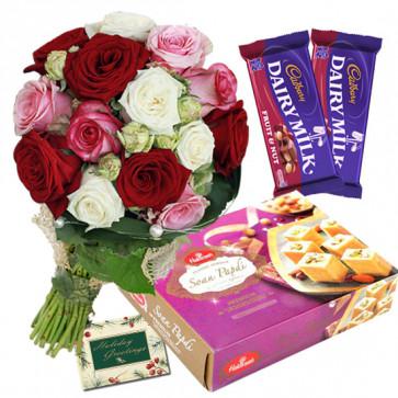 Rose Papdi Choco - 12 Multi Color Roses Bunch, Soan Papdi 500 gms, 2 Fruit N Nut & Card