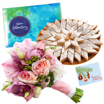 Pink Mix Katli - 15 Pink Mix Flowers Bunch, Kaju Katli 250 gms, Cadbury Celebrations 118 gms & Card