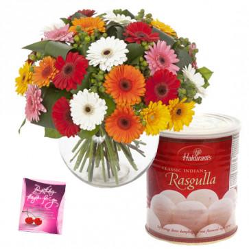 Mix Rasgulla Vase - 20 Mix Colour Gerberas in Vase, Rasgulla 500 gms & Card