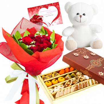 Red Mix Teddy - 6 Red Roses Bunch, Kaju MIx 500 gms, Teddy 6 inch  & Card