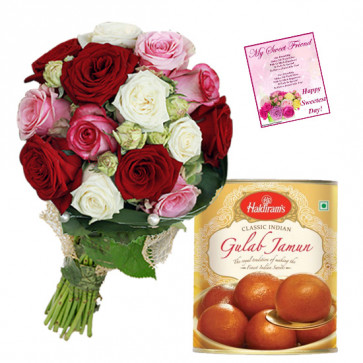 MIx Floral Treat - 20 Red, White & Pink Roses Basket, Gulab Jamun 500 gms & Card