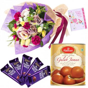 Swwet Seasonal Choco - 15 Seasonal Flowers Bunch, Gulab Jamun 500 gms, 5 Dairy Milk 14 gms each & Card