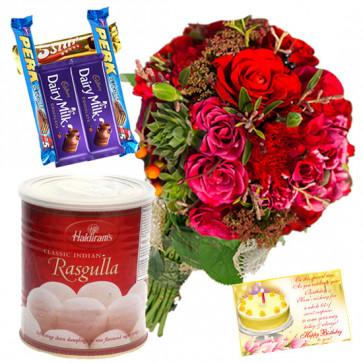 Seasonal Rasgulla Assortment - 12 Red Seasonal Flowers Bunch, Rasgullas 500 Gms, 5 Assorted Bars & Card