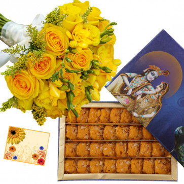 Yellow Flower Peda - 12 Yellow Flowers Bunch, Kesar Penda 250 gms & Card
