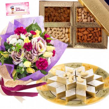 Assorted Katli Mix - 10 Mixed Flowers Bunch, Kaju Katli 500 gms, Assorted Dry Fruit Box 200 gms & Card