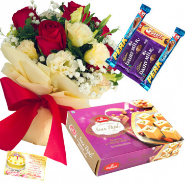 Red N White Bars - 15 Red & White Roses Bunch, Soan Papdi 250 gms, 5 Assorted Bars & Card
