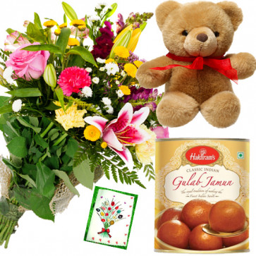 Mix Sweets N Teddy - 14 Mix Flowers Bunch, Gulab Jamun 500 gms, Teddy 6 inch & Card