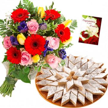 Katli Flower Mix - 15 Mix Flowers Bunch, Kaju Katli 250 gms & Card