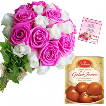 Pink N White Tin - 10 Pink and White Roses Bunch, Gulab Jamun 500 gms & Card