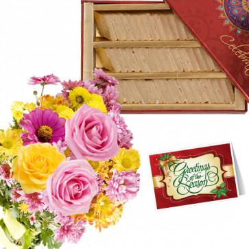 Yellow Flower Katli - 12 Yellow and Pink Flowers Bunch, Kaju Katli 250 gms & Card