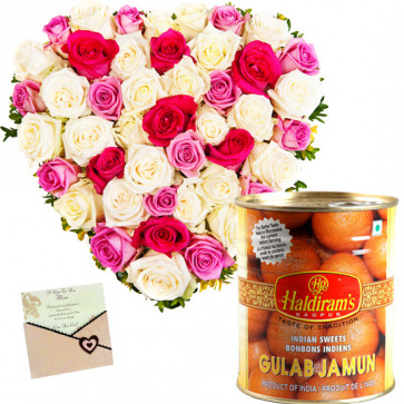 Pink Sweet Heart - 30 Pink and White Roses Heart Shaped, Gulab Jamun 500 gms & Card