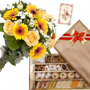 Yellow Kaju Mix - 10 Yellow Flowers Bunch, Kaju Mix 250 gms & Card