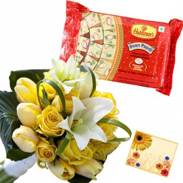 Flower Papdi Treat - 12 Yellow & White Flowers Bunch, Soan Papdi 500 gms & Card