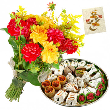 Carnation Mix - 10 Red and Yellow Carnations Bunch, Kaju Mix 250 gms & Card