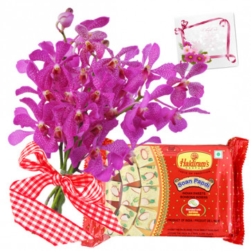 Orchid Papdi Mix - 6 Purple Orchids, Soan Papdi 250 gms & Card