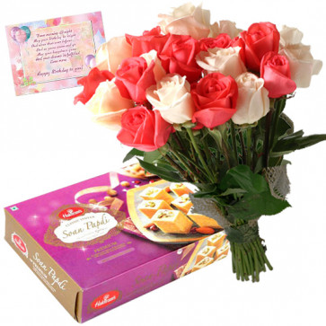 Pink N White Papdi - 12 Pink and White Roses Bunch, Soan Papdi 250 gms & Card