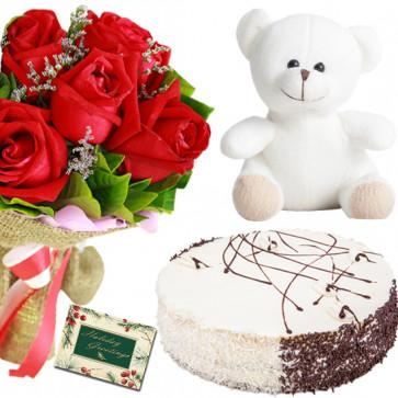 Three Times Joy - 8 Red Roses Bunch, Teddy 6 inch, 1/2 Kg Blackforest Cake + Card