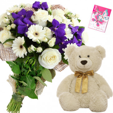 Flowers N Teddy - 4 White Gerberas & 4 Roses and 4 Orchids Bunch, Teddy 6 inch + Card