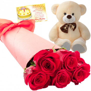 Rosey Bear - 10 Red Roses Bunch, Teddy 6 inch + Card