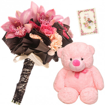 Pink Teddy Delight - 15 Exotic Pink Flowers Bunch, Teddy 6 inch + Card