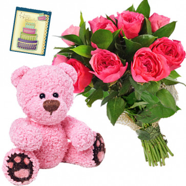 Small Wonder - 10 Pink Roses Bunch, Teddy 6 inch + Card