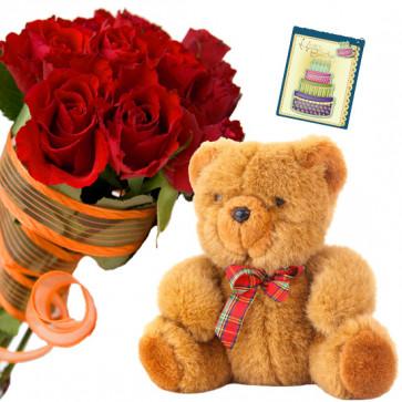 Reddy Teddy - 14 Red Roses Bunch, Teddy 6 inch + Card