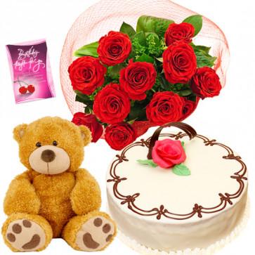 Rose N Vanilla Softy - 8 Red Roses Bunch, Teddy 6 inch, 1/2 Kg Vanilla Cake + Card