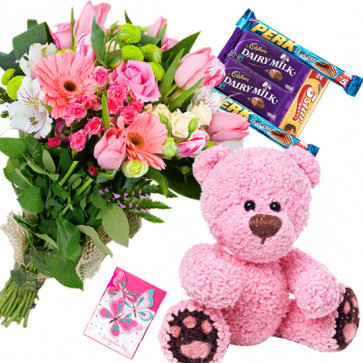 Pink Dove - 15 Pink Flowers Bunch, Teddy 8 inch, 5 Assorted Bars + Card