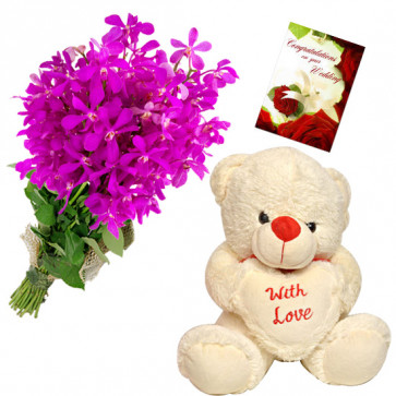 Hearty Orchids - 9 Purple Orchids Bunch, Teddy 6 inch with Heart + Card