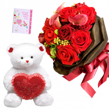 Rosy Heart - 10 Red Roses Bunch, Teddy 10 inch with Heart + Card
