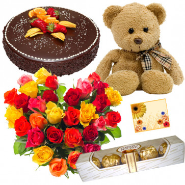 Rose Ferrero Teddy - 50 Mix Roses Heart Shaped Arrangement, Teddy 6 inch, Ferrero Rocher 4 pcs, 1 kg Chocolate Cake + Card