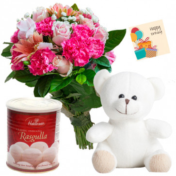 Pink Sweet Teddy - 10 Pink Flowers Bunch, White Teddy 6 inch, Rasgulla 500 gms + Card