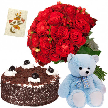 Bunch Cake N Teddy - 8 Red Roses Bunch, Teddy 6 inch, Black Forest Cake 1/2 kg + Card