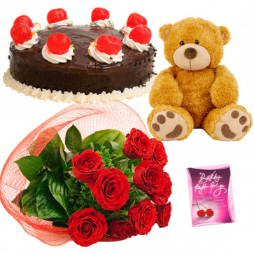Red Cake Teddy - 8 Red Roses Bunch, Teddy 6 inch, Chocolate Cake 1/2 kg + Card